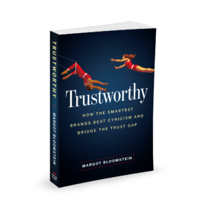 3D cover mockup of Trustworthy, based on the paperback ARC